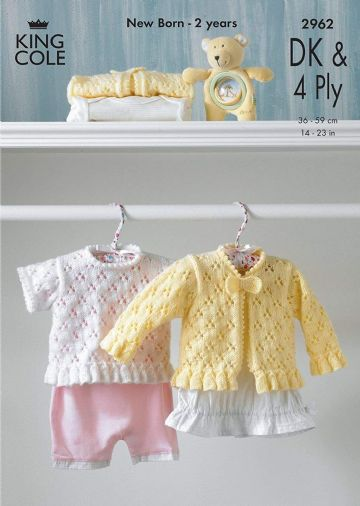 King Cole 2962 Baby Cardigan and Sweater Knitting Pattern